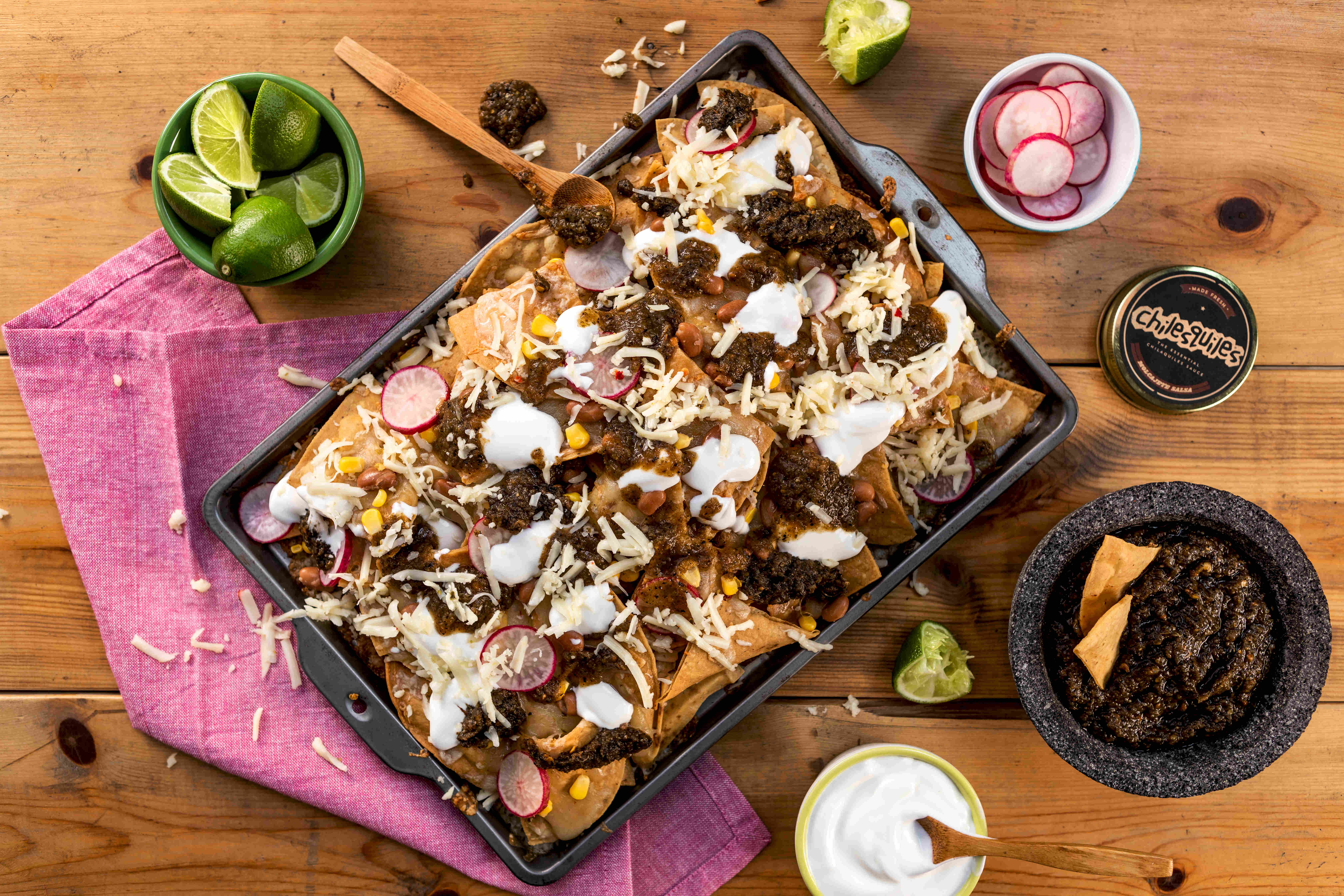 TOMATILLO AND PINTO BEAN NACHOS